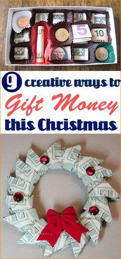 Creative Ways to Gift Money. Great ideas for last minute Christmas gifts. Whether you're celebrating the holidays, a birthday, wedding or graduation, these great DIY ideas will surprise the receiver for sure.