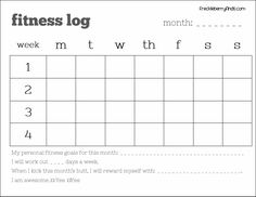 FREE monthly fitness log printable! This site has TONS of weight loss freebies, including how to do Weight Watchers for free!