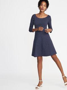 Old Navy Fit & Flare Jersey Dress for Women Flare Skirt, Fit Flare Dress, Fit And Flare, Dress Bra, Hot Dress, Women's Corporate Wear, Tall Clothing, Nice Dresses, Women's Dresses