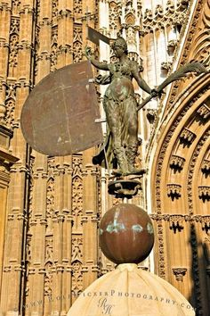The statue Giraldillo is a famous icon of the La Giralda and the Cathedral of Seville in Andalucia, Spain.
