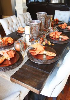 Fantastic Fall Dining Room Table – Love these mosaic looking vases. Would look great for any holiday. The post Fall Dining Room Table – Love these mosaic looking vases. Would look great for a… appeared first on Home Decor Designs Trends . Dining Room Table Decor, Deco Table, Decoration Table, Dining Rooms, Fall Dining Table, Dining Table Placemats, Table Tray, Centerpiece Ideas, Tray Decor