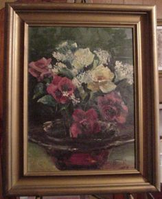 Antique Signed Flower Still Life Oil Painting - 1933