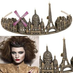 The Paris Tiara by Lydia Courteille sets off the saga with a display of the most famous landmarks including the Eiffel Tower, the Sacre-Coeur and the Moulin Rouge. Lydia Courteille Jewelry, Paris Souvenirs, Springtime In Paris, Spoon Jewelry, Famous Landmarks, Queen, Tiaras And Crowns, Vintage Beauty, Fascinator