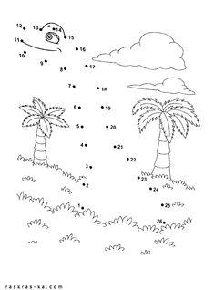 Раскраски по точкам с цифрами Поезд динозавров