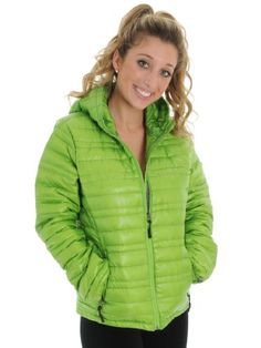 Green Down Puffy Jacket Womens Ski Snow Board Warm Comfortable Light Weight CB Sports Collection
