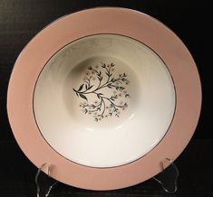 "Homer Laughlin Cavalier Springtime Round Vegetable Serving Bowl 9 1/2""  CV32 Pink EXCELLENT!"