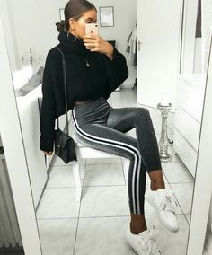 Awesome style! Chunky sweater and velvet tight trackies with sneakers | Stylish outfit ideas for women who love fashion ღ