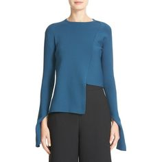 Women's Tibi Asymmetrical Rib Sweater featuring polyvore women's fashion clothing tops sweaters legion blue long tops long sleeve tops blue sweater asymmetric top long blue sweater