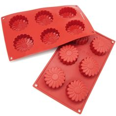 Freshware 6-cavity Daisy Flower Mold and Pan (Food-Grade Silicone), Red