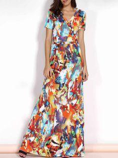 Trendy V-Neck Short Sleeve Multicolored Print Plus Size Maxi Dress For Women
