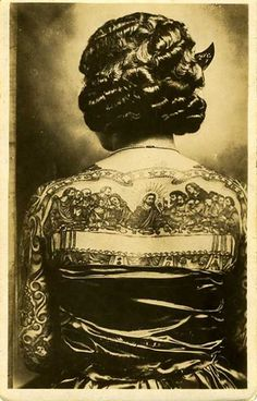 artoria gibbons, escaped poverty by becoming the tattooed lady (her husband the artist) in the 1920s, a member of the episcopalian church she was covered in religious symbols.