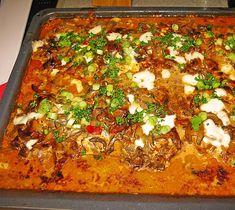Schnitzel vom Blech mit schneller Zubereitung – RezepteBlog.net Pork Schnitzel, Pork Cutlets, Stromboli Italian, Italian Christmas, Lasagna, Ham, Onion, Stuffed Mushrooms, Food And Drink