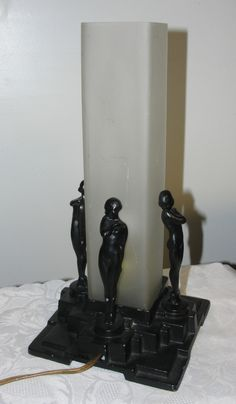 1920 Art Deco Lamps | 1920's Art Deco Nude Females Lady Spelter Metal Lamp Cylinder Shade ...