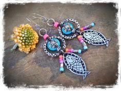 Celtic knot FISH Earrings Neon Bikini jewelry Summer by GPyoga, $44.00