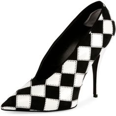 Stella Mccartney Checkered Pointed-Toe 80mm Pump ($1,180) ❤ liked on Polyvore featuring shoes, pumps, stella mccartney pumps, slip on shoes, pointy-toe pumps, slip-on shoes and slip on pumps
