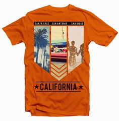 California Photos Collage Beach Palms Cars San Antonio Diego Santa CruzT Shirt Design CMYK Color Screenprinting And DTGIncludes PDF With The Separation