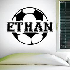 Custom Soccer Name Wall Decal, 0122, Personalized Soccer Name Wall Decal, Girls Soccer, Boys Soccer, Custom Name. A great wall decal for your kid's birthday. This decal has several color options and sizes. All wall decals are made after you order your product. They are cut on vinyl made for interior walls only. Mostly installed on clean smooth walls but can also be installed on semi textured or tile walls as well. Be sure if applying to a textured wall to heat up the the decal with a heat...