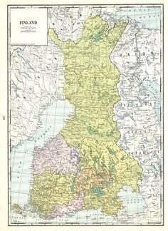 1937 map of pre-war Finland