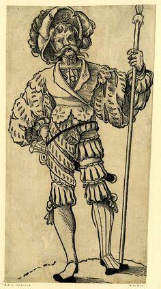 1525-1530 - 'Landsknecht' (German mercenary). Christoph Amberger  Print made by Jörg Breu I