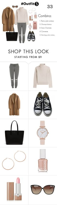 """Outfit 5"" by jeniffercrystel on Polyvore featuring moda, River Island, Vanessa Seward, WithChic, Converse, Lacoste, Olivia Burton, Jennifer Zeuner, Essie y Marc Jacobs"