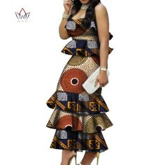 Image of Fashion Multilayer Draped Print Top & Skirt Sets Bazin Riche African Wax Dresses for Women 2 Pieces Skirts Sets Clothing African Dresses For Kids, African Maxi Dresses, African Fashion Ankara, Latest African Fashion Dresses, Ankara Dress Styles, African Print Fashion, African Attire, Women's Dresses, Traditional African Clothing