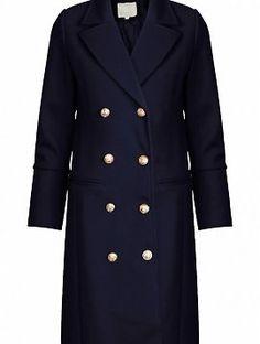 Navy Golden Button Coat