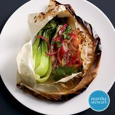 Cooking en papillote (in parchment) seals in the moisture of fish fillets, yielding a silken entree and perfectly crisp-tender vegetables. Bok Choy Recipes, Fish Recipes, Seafood Recipes, Gourmet Recipes, Cooking Recipes, Healthy Recipes, Summer Salads With Fruit, How To Cook Fish, Vegetable Stew