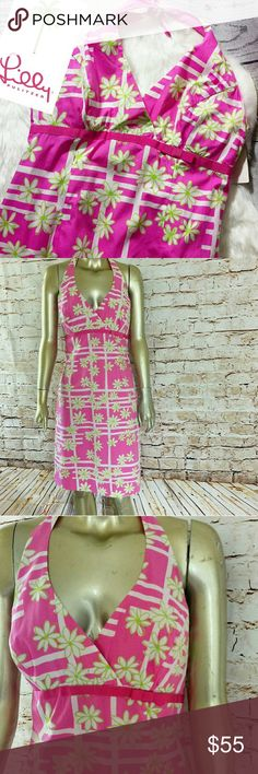 """Pink Floral Lilly Pulitzer dress Pink daisy print Lilly Pulitzer dress in great condition. Halter style pink white and green patter. Size 6. BUST 36"""" WAIST 30"""" hips 40"""". Length midi below knees. Lilly Pulitzer Dresses"""