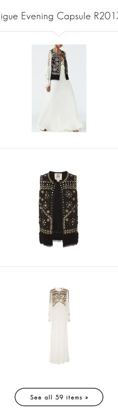 """""""Figue Evening Capsule R2017"""" by xandra-black ❤ liked on Polyvore featuring outerwear, vests, fringe vest, sequin vest, vest waistcoat, chiffon vest, figue, dresses, gowns and white ruched dress"""