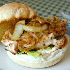 Grilled Chicken Sandwiches with Caramelized Onions and Mozzarella. delicious sandwich that rocked our worlds! … well our taste buds anyway.