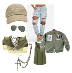 """Military badass. Cap, ripped jeans (boyfriend), ear cuff, green sneakers, bomber jacket, tank top"" by explorer-14288293474 on Polyvore featuring Uniqlo, Giuseppe Zanotti and Ray-Ban"