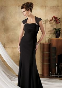 Sheath/ Column Square-neck Floor-length in Chiffon Mother of the Bride Dress