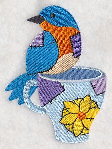 """Crafty Bird with MugProduct ID:L6987 Size:2.81""""(w) x 3.86""""(h) (71.4 x 98 mm)Color Changes:11 Stitches:13531Colors Used:10"""