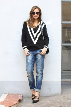 Black Varsity Sweater + Distressed Boyfriend Jeans