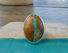 Nevada boulder Turquoise ring Sterling silver ring by anakim, $156.00