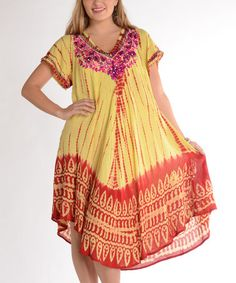 fafc6ca6e5 Yellow & Orange Tie-Dye Embroidered Midi Dress - Plus by Shoreline # zulily