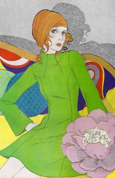 Fashion illustrations from a 1970 Vogue Pattern Book.