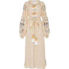 March11 Beige Kilim Maxi Dress (37 255 UAH) ❤ liked on Polyvore featuring dresses, linen maxi dress, tie waist dress, beige maxi dress, embroidery dress and lace up front dress