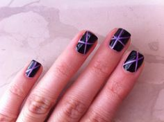 Purple and Black Stripes #beauty #nails