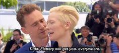 Tom Hiddleston and Tilda Swinton joke around at the Cannes Film Festival.