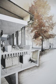 Rendering with mix media #architecture #drawing