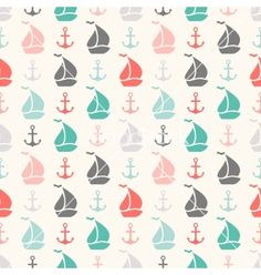 Seamless pattern of anchor and sailboat shape vector by Kannaa on VectorStock®