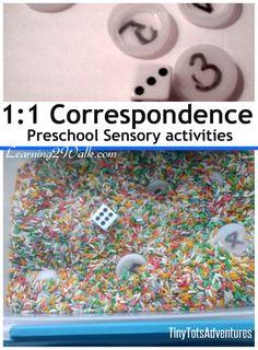 preschool sensory activities 1:1 Correspondence