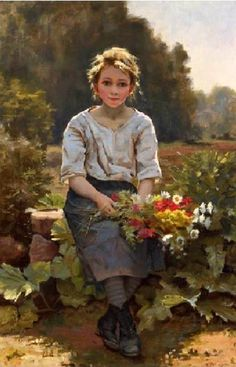 The Flower Girl ~ Cesar Pattein 1850-1931