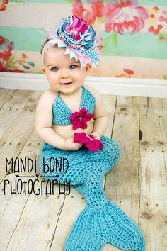 Apoyos de la foto de sirena traje Crochet sirena Set Crochet