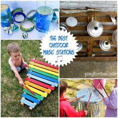 I am so excited to bring you this collection of AMAZING Outdoor Music Stations. We made our recycled outdoor music station last year and are still enjoying it. Taking music out into the fresh air a. Natural Play Spaces, Outdoor Play Spaces, Outdoor Fun, Petite Section, Timmy Time, Preschool Music, Music Station, Backyard Play, Music For Kids
