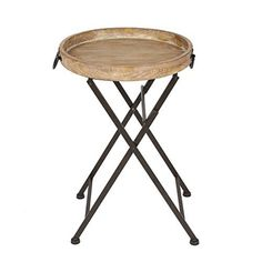 This table is so cute! It has a natural wood tray base and rustic black iron metal legs. The table is beautiful enough to display at all times or easily folded and carried if you want to carry it in and out of doors! This table is perfect for use as an end table in the living room or bedroom, or... more details available at https://furniture.bestselleroutlets.com/game-recreation-room-furniture/tv-trays/product-review-for-kate-and-laurel-marmora-round-metal-and-wood-tray-table