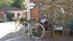 Vélo ancien avec boîte en bois fleurie, fanions carton...décor arrière plan : panneaux directionnels.
