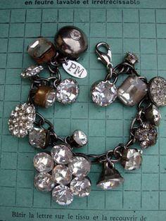 Vintage Rhinestone Button Bracelet