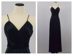 Black V Neck Maxi Dress  Spaghetti Strap by TheBirdcageVintage, $59.99 #etsy #vintage